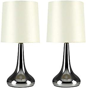 MiniSun – Set de 2 lámparas modernas de mesa táctiles, con forma de gota - cromadas y pantallas de tela color crema