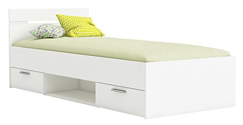 Funktionsbett 90 * 200 cm Weiß inkl. 2 Bettschubkästen Kinderbett Jugendbett Jugendliege Bettliege Bettgestell Bett Jugendzimmer Kinderzimmer