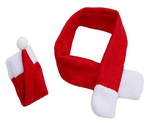 XIAOGING Cappello di Natale Babbo Natale e Mini Sciarpa di Natale for i titolari di Natale Argenteria, Copertine Caramella, Decorazioni Bottiglia di Vino