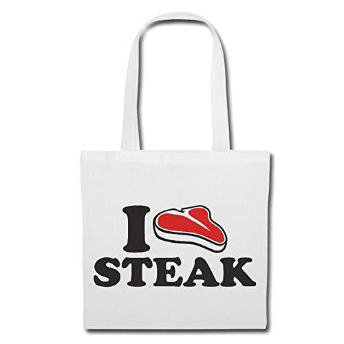 Tasche Umhängetasche I Love Steak - RINDERSTEAK - HÜFTSTEAK - RUMPSTEAK - STEAKHAUS Einkaufstasche Schulbeutel Turnbeutel in Weiß