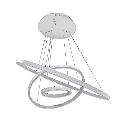 Vetrineinrete® Lampadario Led a sospensione 48 watt Plafoniera a forma di pianeta bianco Lampada sospesa Luce Fredda 6500K Arredamento Casa Moderno B40-F Z39
