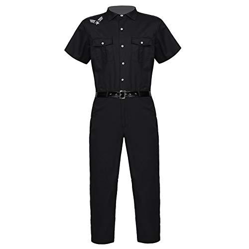 dPois Disfraz de Polica Uniforme de Polica para Hombres Hallowen Fiesta Cosplay Monos Manga Corta Pantalones Largos con Cinturn Negro XL