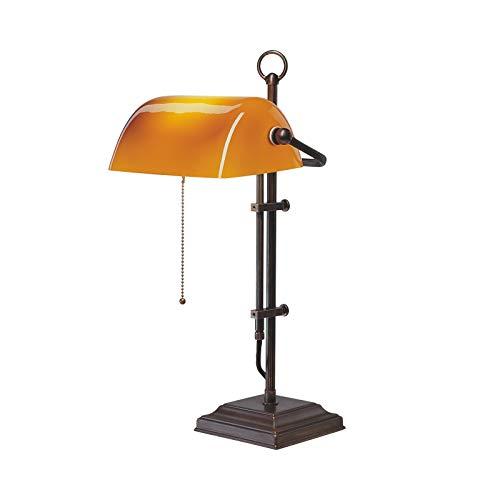 Banker's lamp messing glas tafellamp in cognac cognac | handgemaakte kwaliteit uit Duitse fabriek | tafellamp klassiek dimbaar | lamp E27