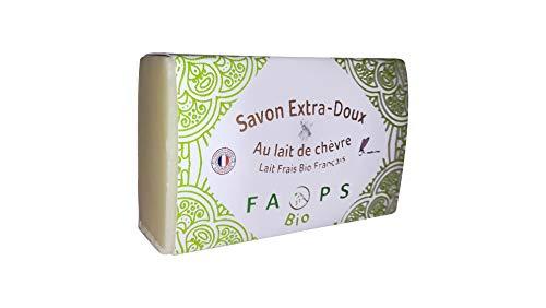 Savon Français 12% lait de Chèvre frais BiO 100% Naturel Sans Sulfates,Silicones,Parabens,EDTA,MIT,Alcool,Colorant,OGM, huile de palme,minérale. Non testé sur animaux 100g. Vu dans UFC QUE CHOISIR