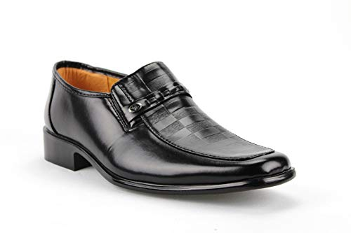 Majestic Men's 20082 Checkered Design Dress Loafers Shoes, Black, 8.5