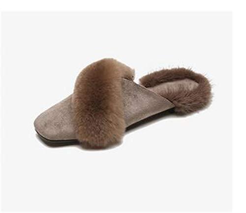 lhxyx Zapatillas de Piel para Mujer, Medias de Invierno de Verdadero Pelo...