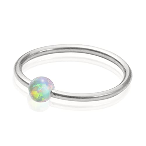 925 Silver White Opal Nose Ring - 20 Gauge Cartilage earring with 9mm Hoop Diameter - Perfect Piercing Jewelry for Women and Men