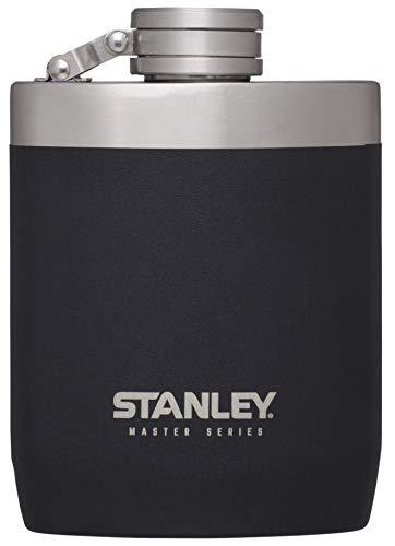 Stanley Master Series Großer Flachmann, 0.23 L, Foundry Black, Extra-Starker 18/8 Edelstahl, auslaufsicher, weite Öffnung