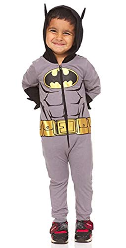 Batman Toddler Boys Costume with Goldtone Icon Belt 3D Ear and Spikes 3T