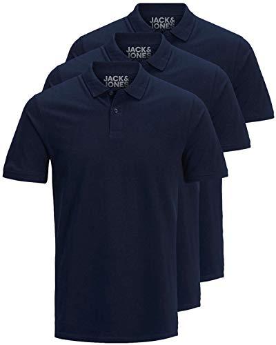 JACK & JONES 3er Pack Herren Poloshirt Slim Fit Kurzarm schwarz weiß blau grau XS S M L XL XXL 12171776 (XL, 3er Pack Navy)