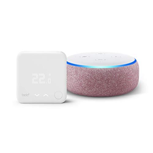 Echo Dot (3ème génération), Enceinte connectée avec Alexa, Tissu prune + Thermostat Intelligent Kit de Démarrage V3+ - Contrôle intelligent du chauffage