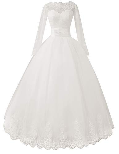 Brautkleid Hochzeitskleid Lang A-Linie Prinzessin Standesamtkleider Abendkleider Brautmode Fetskleider Elfenbein 44