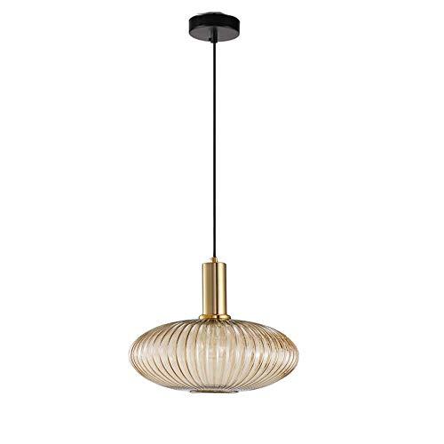 MZStech Lampe suspendue moderne, suspension en verre ambré avec douille de suspension en cuivre doré