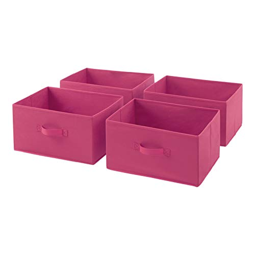 AmazonBasics Organizador de almacenamiento de tela con 4 cajones, cajones de repuesto, rosado intenso