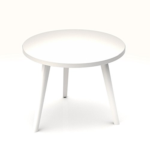 Weber Büro Beistelltisch Amber rund Ø 700 mm Couchtisch Kaffeetisch Loungetable Loungetisch Ablagetisch, Melamin-Farbe:Weiß