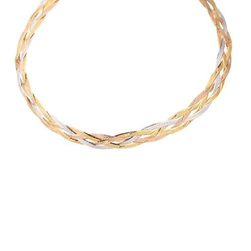 L'Atelier d'Azur Collier Tresse Trois Ors - Or Tricolore Jaune, Blanc et Rose - Femme
