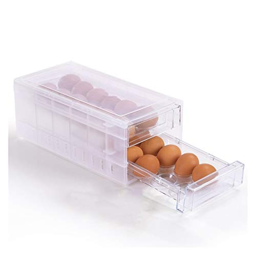 Huevera Caja de huevos, Refrigerador, Caja de almacenamiento de huevos, Tipo de cajón de plástico Tipo de huevo, caja de embalaje de huevo (Color : Clear)