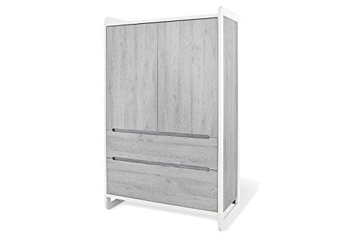 Pinolino 143440 Moderner, Trendiger Kleiderschrank, aus MDF, Edelmatt Lackiert und Beschichtet, Maße, 118 X 57 X 190 cm, weiß/esche grau