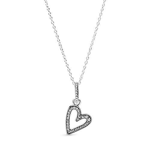 Huachaoxiang Cadenas De Damas con Colgante De Corazón, Plata De Ley 925 Imperfección Amor Verdadero,Plata