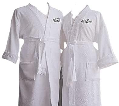 Luxor Linens - Terry Cloth Bathrobes - 100% Egyptian Cotton His & Her Bathrobe Set - Luxurious, Soft, Plush Durable Set of Robes