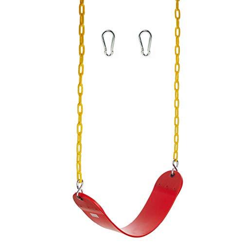 jiande Asiento de Swing de Servicio Pesado para niños Adultos-Eva Swing Conjuntos Accesorios Swing Asiento de reemplazo y carabiners para fácil instalación-roja, 26.5in