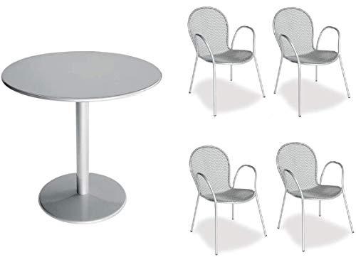 Table pour extérieur Bistrot – Diamètre 80 cm – Article 902 inclus 4 fauteuils ronds – zingué et verni couleur argent – Produit fabriqué en Italie