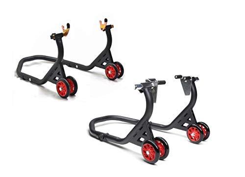 MAX2H.COM Premium Motorrad Montageständer, Set vorne & hinten, Motorradheber, schwarz