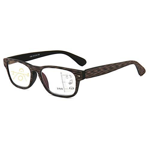 LGQ Gafas de Lectura Estilo rectángulo de Grano de Madera de imitación, Lente multifocal progresiva, dioptría de Marco de Material de PC +1,00 a +3,00,Wood Grain,+3.00