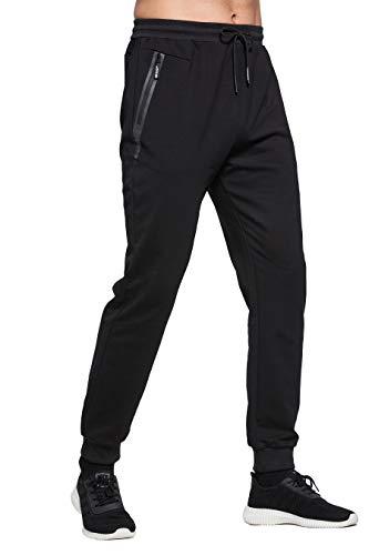 ZOXOZ Jogginghose Herren Baumwolle Sporthose Herren Trainingshose Männer Lang Fitness Hosen Herren mit Reißverschluss Taschen Schwarz L