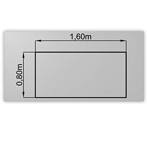 Bümö® stabile Tischplatte 2,5 cm stark - DIY Schreibtischplatte aus Holz | Bürotischplatte belastbar mit 120 kg | Spanholzplatte in vielen Formen & Dekoren| Platte für Büro, Tisch & mehr (Rechteck: 160 x 80 cm, Grau)