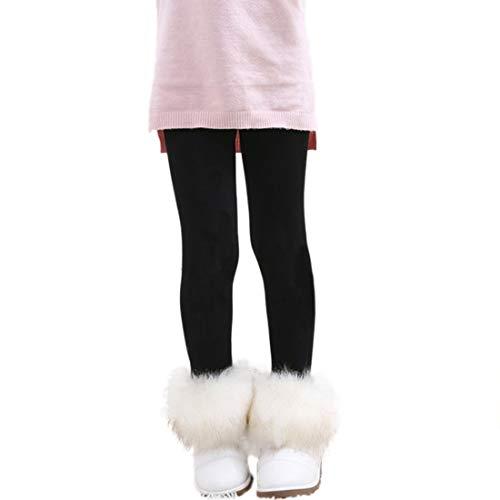 PanpanBox - Mallas térmicas para niña, monocromáticas, cálidas, para el tiempo libre, para invierno, de lana, elásticas, con forro polar, para niños de 2 a 9 años Negro 110 cm-122 cm