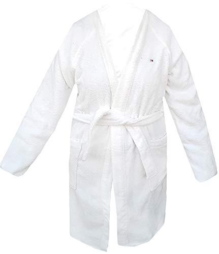 Peignoir Kimono avec capuche Tommy Hilfiger Taille S M L XL XXL 100 % éponge pur coton homme femme (blanc, M – 46/48)