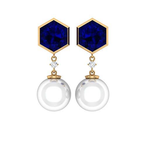 Bridal Earrings, 16 CT 10 MM Freshwater Pearl Drop Earring, 4.5 CT Lab Created Blue Sapphire Earrings, HI-SI Diamond Wedding Earring (AAA Quality), 14K Yellow Gold, Pair