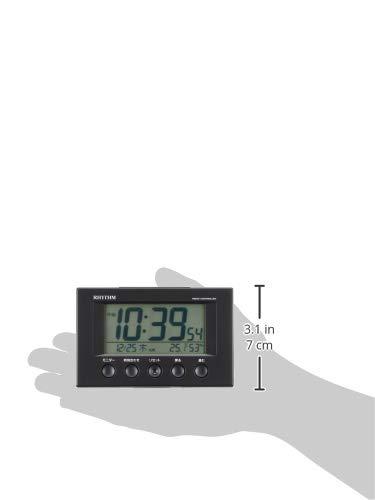 『リズム(RHYTHM) 目覚まし時計 電波時計 温度計・湿度計付き フィットウェーブスマート 黒 7.7×12×5.4cm 8RZ166SR02』の8枚目の画像