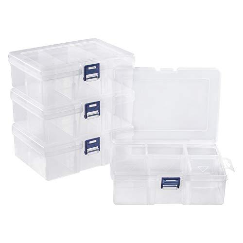 PandaHall 4 Stück 6 Grids Schmuck Teiler Box Organizer Rechteck durchsichtigen Kunststoff Bead Case Aufbewahrungsbehälter mit verstellbaren Teilern für Perlen Schmuck Nail Art Kleinigkeiten