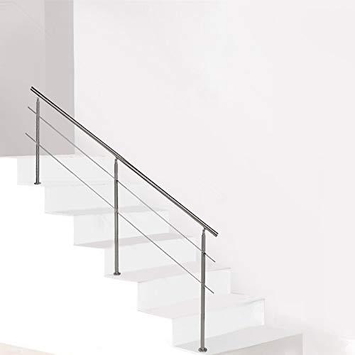 Set corrimano scale, Ringhiera per corrimano in Acciaio Inox, ringhiere per scale e balconi per Interni ed Esterni, 0/2/3 Barre trasversali, 100cm Corrimano Scala, 100X102.5cm(2 Barre trasversali)