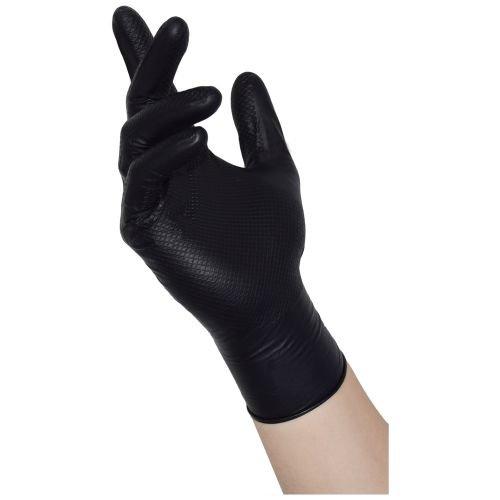 NITRAS TOUGH GRIP N schwarz, 50 Stück Nitril-Einmalhandschuhe mit rutschfester Innenhand Größe XL