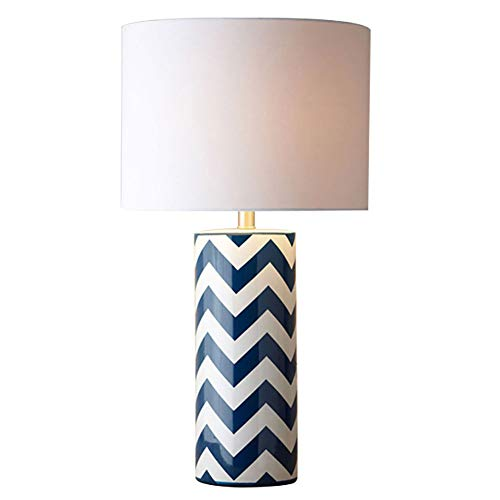 Vinmin Mid Century Modern Table Lamp, Cottage Table Lamp with Nightlight Ceramic Blue Zebra Line lámpara de Mesa de cerámica Fabric Shade for Living Room Family Bedroom