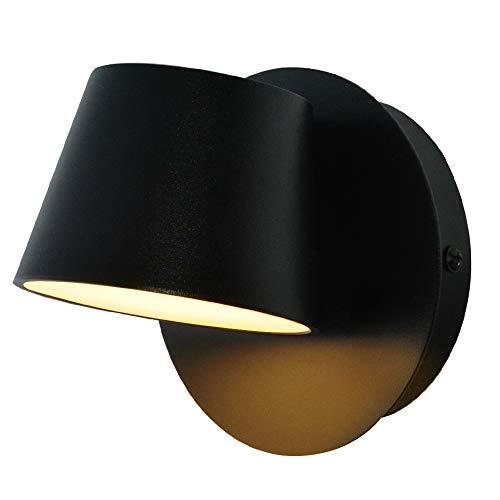 Wandleuchte Innen Leselampe Minimalistisch Design Hell Schlafzimmer, LED Wandbeleuchtung Warmweiß 3000K 7W Leuchtet auf und ab Moderne Einstellbar Schwarz Wandlampe für Wohnzimmer Balkon Treppenhaus