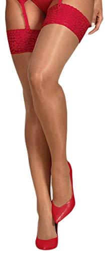 Selente Lovely Legs verführerische Damen Strapsstrümpfe, made in EU (L/XL, rot)