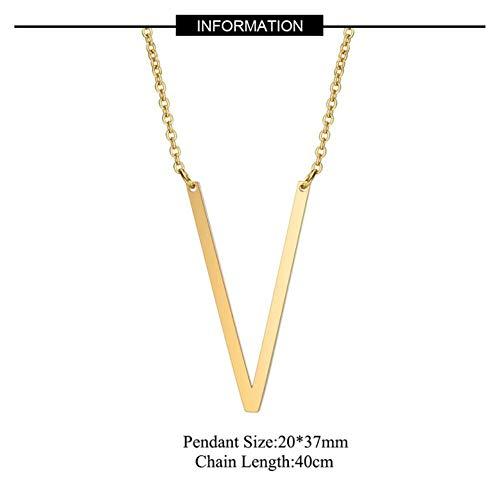 EDCV ketting grote eerste ketting roestvrij stalen sieraden grote letter ketting AZ goud gepersonaliseerde ketting geschenken, V