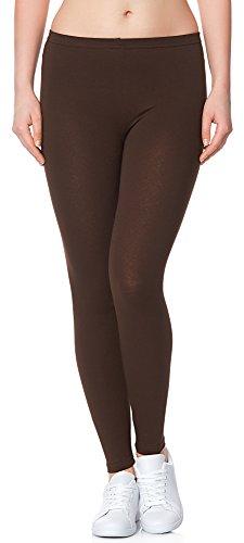 Ladeheid Damen Leggings Long aus Baumwolle LAMA02 (Braun28, 4XL/5XL)