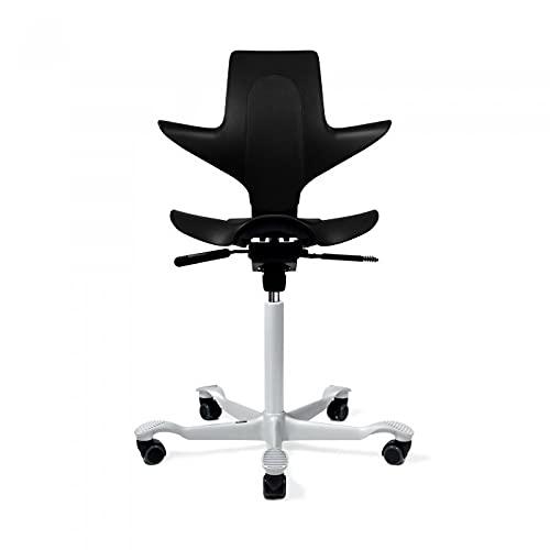HAG Capisco Puls Adjustable Standing Desk Chair - Black Frame - Black - Partial Cushion