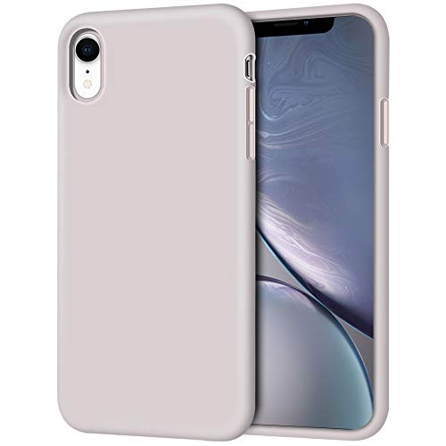 iPhone XR Case, Anuck Soft Silicone Gel Rubber Bumper Phone Case with Anti-Scratch Microfiber Lining Hard Shell Shockproof Full-Body Protective Case Cover for Apple iPhone XR 6.1' 2018, Lavender Gray