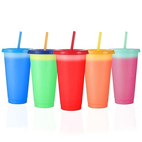 Aigid Juego de 5 vasos de plástico reutilizables que cambian de color de 710 ml con tapas y pajitas, vaso frío de plástico para niños y adultos