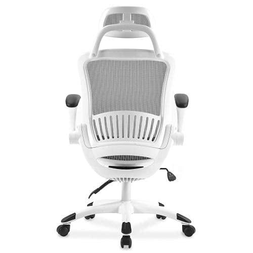 Silla de oficina de malla con respaldo alto y reposacabezas ajustable y reposabrazos (color blanco)