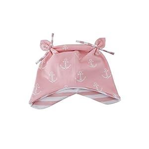 Babymütze, Knotenmütze, Ohrenmütze rosa mit weißen Ankern/Innenseite Streifen rosa-weiß. 95% Baumwolle, 5% Elasthan