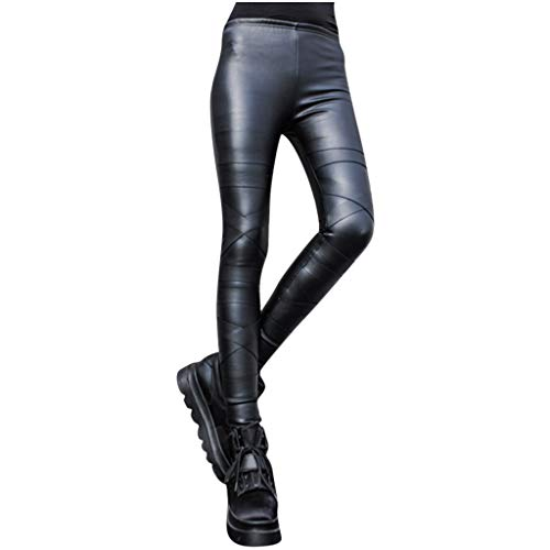 cinnamou Damen Lederhose Winter Hose Plus Velvet Steampunk Leggings Damen Sexy Leder Leggings Hohe Taille Hose Lederimitat Schwarz Damen Skinny Leder Hose Streetwear