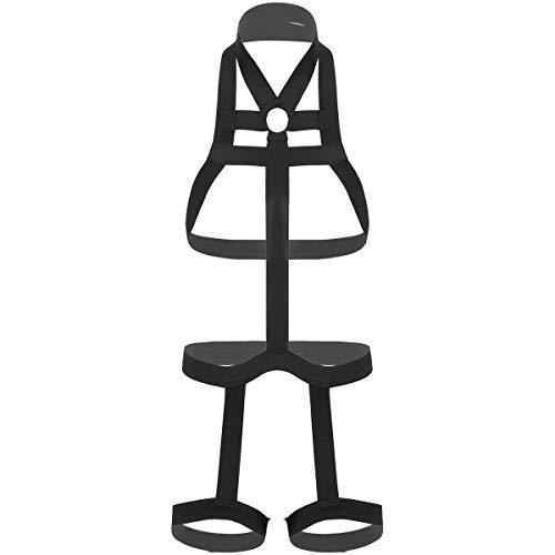 TiaoBug Men's Nylon Halter Neck Elastic Body Chest Harness Belt with Leg Garter Straps Costume Black One Size