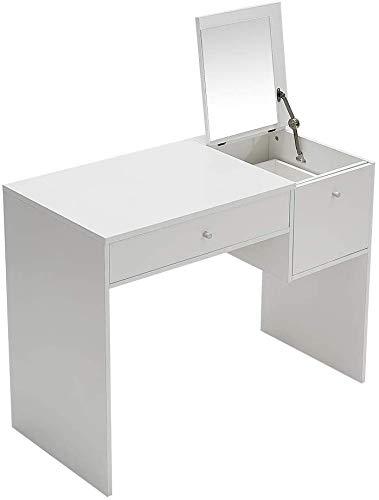 Mesa de tocador gabinete de almacenamiento de espejo de espejo de lujo de madera maciza de lujo de maquillaje blanco juego de mesa dormitorio dormitorio sala de estar baño,White